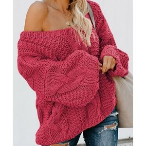 ❄🧁 Berry Double V-neck Chunky Sweater